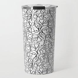 Elio's Shirt Faces in Black Outlines on White Travel Mug