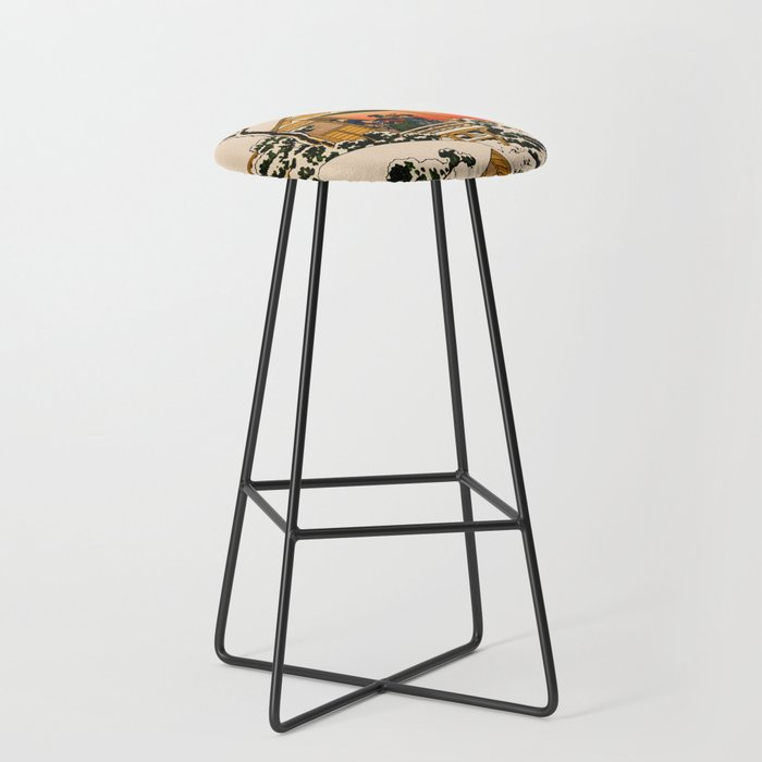 Snow at Koishikawa - Vintage Japanese Art Bar Stool