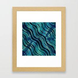 Wavy Tribal  Ethnic Boho Pattern Framed Art Print