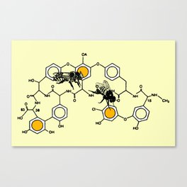 Bees making honey on macromolecular structure as a bee house  Canvas Print