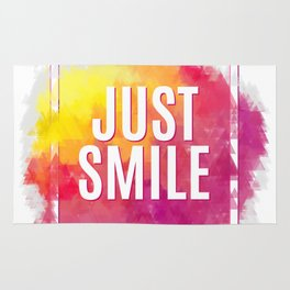 Just Smile motivation square watercolor stroke poster. Text lettering of an inspirational saying. Qu Rug