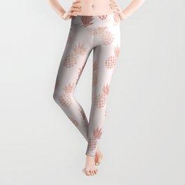 Rose Gold Pineapple Pattern Leggings