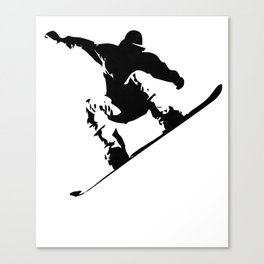 Snowboarding Black on White Abstract Snow Boarder Canvas Print
