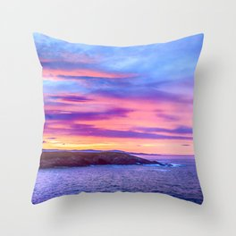 Biscay Bay sunset Throw Pillow