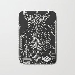 Santa Fe Garden – White Ink on Black Bath Mat