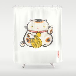Maneki Neko [Special Lucky Toy Box] Shower Curtain