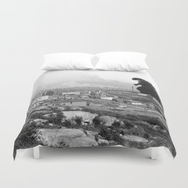 Old Time Godzilla Duvet Cover