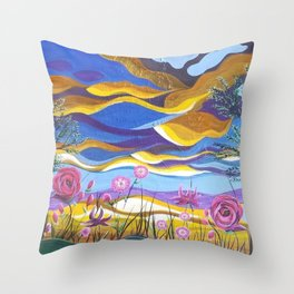 Pretty in Pink, Pink floral landscape, Abstract Landscape Throw Pillow