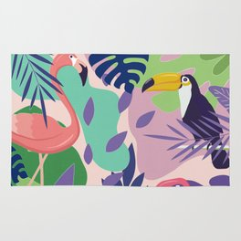 Tropical Jungle With Flamingos And Toucans Memphis Style Rug