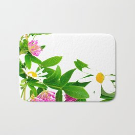 Summer Meadow Flowers White Background #decor #society6 #buyart Bath Mat