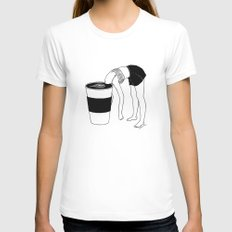 Coffee, First MEDIUM White Womens Fitted Tee