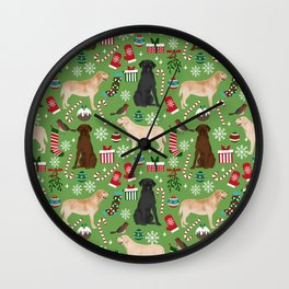 Labrador retrievers christmas festive holiday gifts for dog lover in your life dog breeds custom art Wall Clock