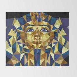 Golden Tutankhamun - Pharaoh's Mask Throw Blanket