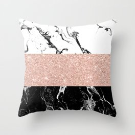 Modern black white marble rose gold color block stripes pattern Throw Pillow