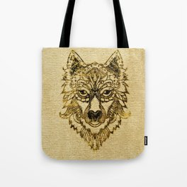 Tribal Wolf Burn Edge on canvas Tote Bag