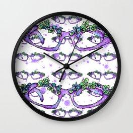 Retro Purple Flower Glasses Wall Clock