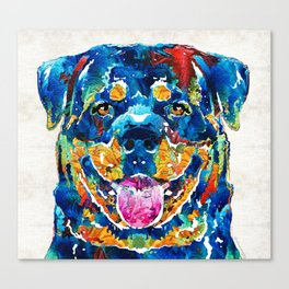 Colorful Rottie Art - Rottweiler by Sharon Cummings Canvas Print