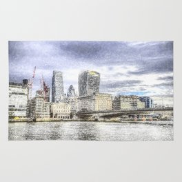 City of London and River Thames Snow Art Rug