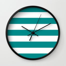 Dark cyan - solid color - white stripes pattern Wall Clock