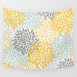 Yellow flowers wall tapestries society6 floral pattern yellow pale aqua blue and gray wall tapestry mightylinksfo
