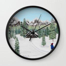 Christmas on the mountain Wall Clock