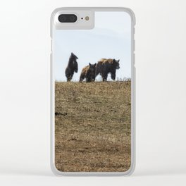 Standing Cinnamon Black Cub with mother and sibling at Pryor Mountain Clear iPhone Case