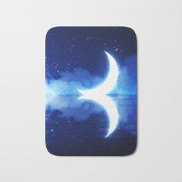 Crescent Moon over blue Starry Sky Bath Mat