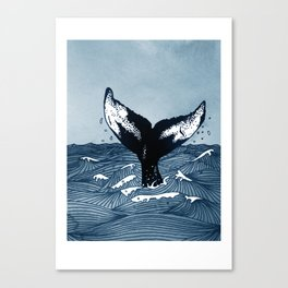 Hump Back Whale tail breaking the surface of stormy waves at sea Canvas Print