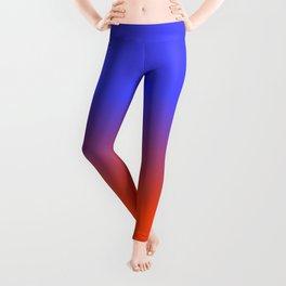 Neon Blue and Neon Orange Ombré  Shade Color Fade Leggings