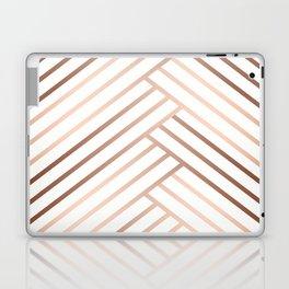 Simple pattern . Beige, brown diagonal lines on white. Laptop & iPad Skin