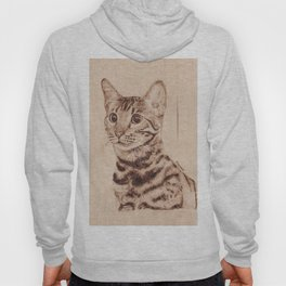 Bengal Cat Portrait - Drawing by Burning on Wood - Pyrography art Hoody