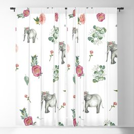 Ellie the Elephant and her flower crown Blackout Curtain