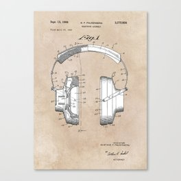 patent art Falkenberg Headphone assembly 1966 Canvas Print