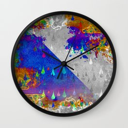 Abstract Colorful Rain Drops Design Wall Clock