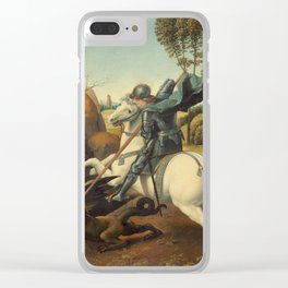 Saint George and the Dragon Oil Painting By Raphael Clear iPhone Case
