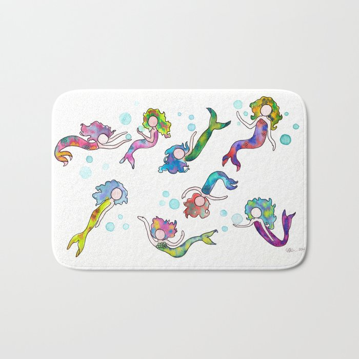 Watercolor Mermaids Bath Mat