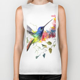 Hummingbird, tropical Foliage, Hawaiian design, tropical, colors Biker Tank