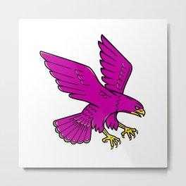 Peregrine Falcon Swoop Mono Line Metal Print