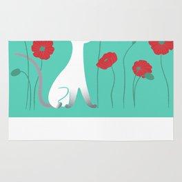 Siamese & Poppies Rug
