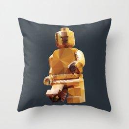 Golden LegoMinifigure Polygon Art Throw Pillow