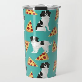 Japanese Chin cheery pizza slice junk food funny cute gifts for dog lover pet friendly pet protraits Travel Mug