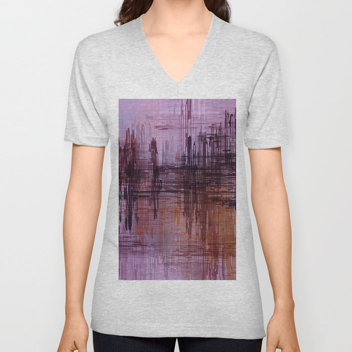 Purple / Violet Painting in Minimalist and Abstract Style Unisex V-Neck