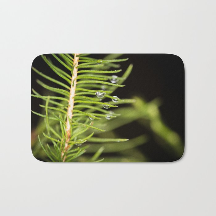 Spruce branch with drops Bath Mat