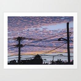 Telephone Poles at Sunset 1 Art Print