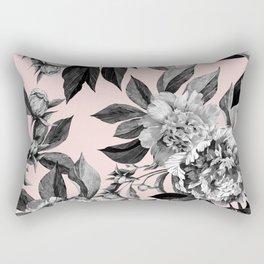 Floral pink - black & white Rectangular Pillow