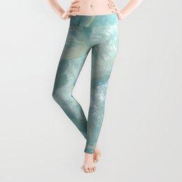 """Aquamarine Pastel and Teal Agate Crystal"" Leggings"