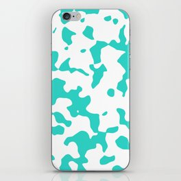 Large Spots - White and Turquoise iPhone Skin