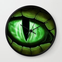 Green Dragon Eye Fantasy Painting Colorful Digital Illustration Wall Clock