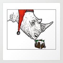 Christmas Rhino Art Print