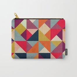 Bright Geometric Happy Pattern Carry-All Pouch